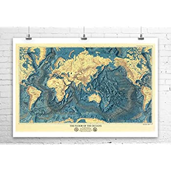 Largest Mountains And Rivers Antique Map Giclee Rolled Canvas Giclee 36x24 in.