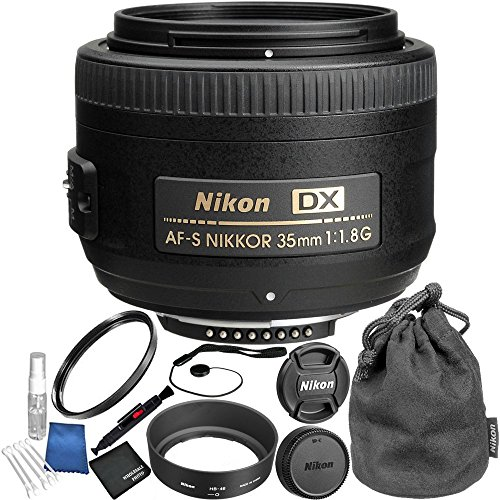 Nikon AF-S DX NIKKOR 35mm f/1.8G Lens Bundle with Manufacturer Accessories and Accessory Kit (15 Items) by Nikon