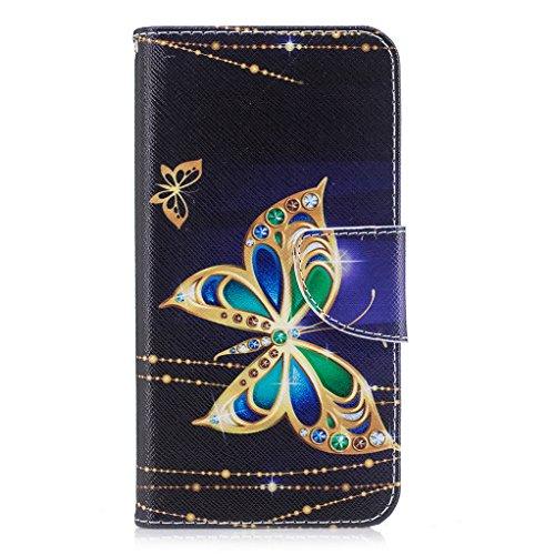 Trumpshop Smartphone Carcasa Funda Protección para Huawei P10 Lite + Familia del búho + PU Cuero Caja Protector Billetera con Cierre magnético Choque Absorción Mariposas Doradas