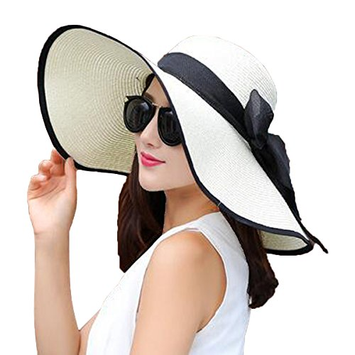 YSHARE Women Big Bowknot Straw Sun Hat Floppy Foldable Roll...