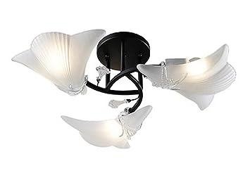 Wandun Deckenleuchte Shell Lampe Opalglas Schüssel Schirm Kronleuchter  Lampe Shell Ornamente Eisen USA Rustikale Glas Schirm