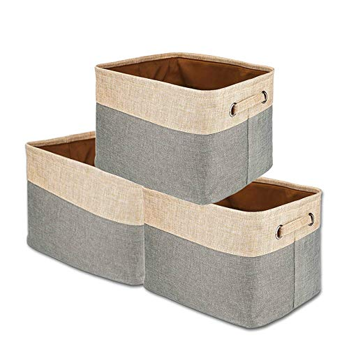 UPHAN 3-Pack Collapsible Storage Bins Basket Foldable Canvas Fabric Large Organizing for Closets Babies Nursery Toys -