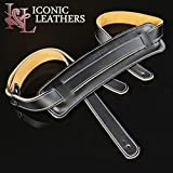Iconic Leathers Black Vintage Skinny Rockabilly Leather Guitar Strap IL-21Blk Extra Long