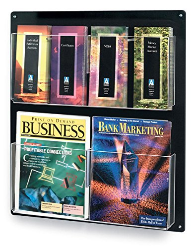 Displays2go Wall Mount Literature Organizer, Removable Dividers for Magazines & Pamphlets, Plastic (RP4BLK)