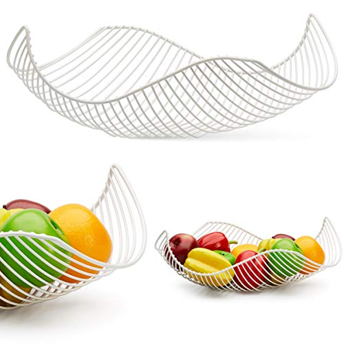 Vistella Fruit Bowl Basket in Matte White - 5 Colors Available - Stainless Steel Wire Design with Modern Styling - Decorative Countertop Centerpiece