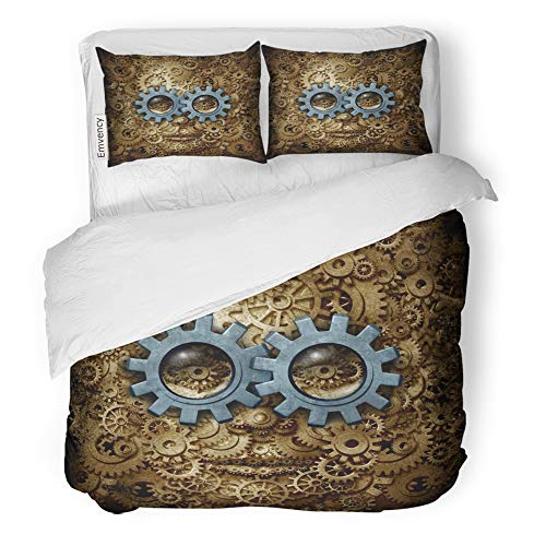Emvency Decor Duvet Cover Set Twin Size Steam Punk Steampunk Sci Fi Science Fiction Human Head Made of Gear and Cog 3 Piece Brushed Microfiber Fabric Print Bedding Set Cover