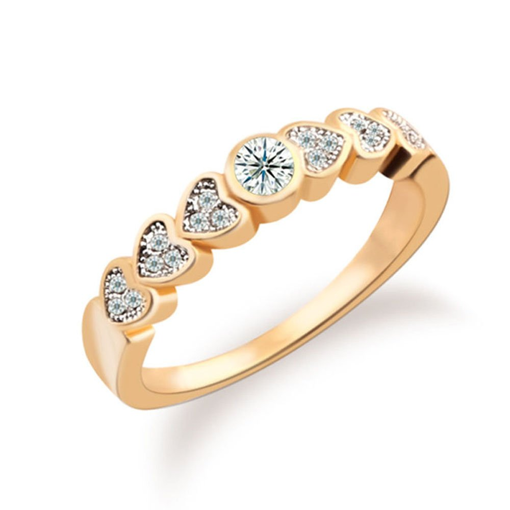 T-Jewelry Fashion Gold Plated Ring For Women Heart White Jewelry Wedding Rings