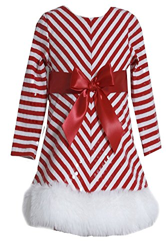 Bonnie Jean Girls Sequins Striped Holiday Christmas Santa Dress, Red, 12