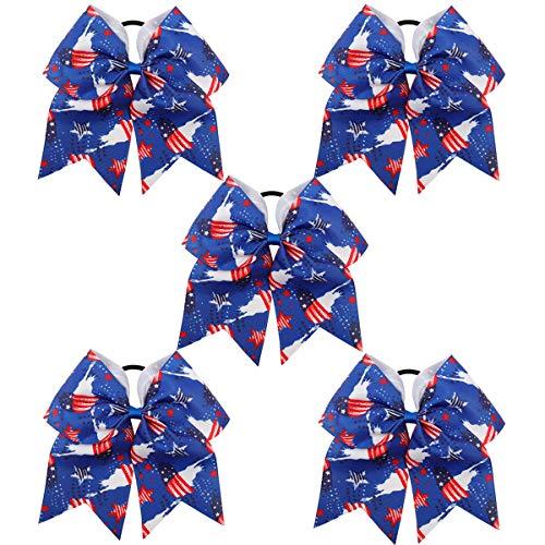 4th Of July Cheer Hair Bow With Elastic Hair Band For Kid Girl American Flag Hair Bow Cheerleading Patriotic Stars ()