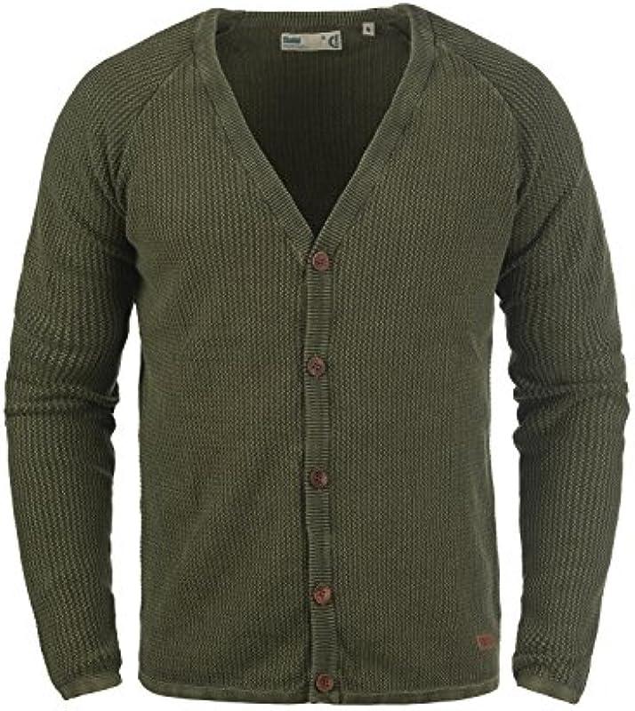 !Solid Tebi męska kurtka z dzianiny kardigan z grubą dzianiną sweter z dekoltem w serek.: Odzież
