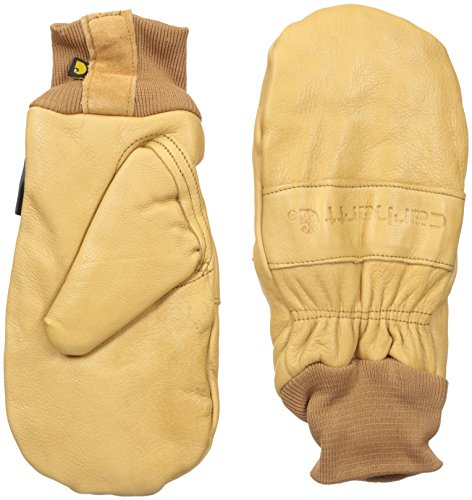 Carhartt Men's Insulated Leather Mitt (Knit Cuff), Brown, XX-Large