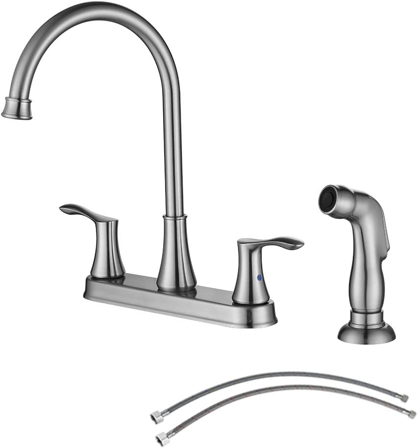 PARLOS 8 Inch Two Handles High Arch Kitchen Sink Faucet with Side Sprayer & Supply Lines, Brushed Nickel, Demeter 14138