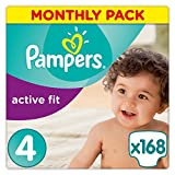 Active Fit Nappies (size 4 maxi: 7-18 kg) - 1 Economy Pack containing 168 nappies