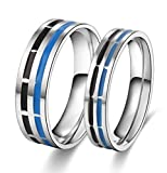 Amazing Black and Blue Titanium Stainless Steel Wedding Band Set Anniversary Engagement Promise Ring