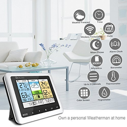 Wireless Weather Station, DIGOO DG-TH8888 Personal Weather Station with Outdoor Sensor, Digital Thermometer with Indoor/Outdoor Temperature, 3 Channel Temperature and Humidity Monitor for Home &Office