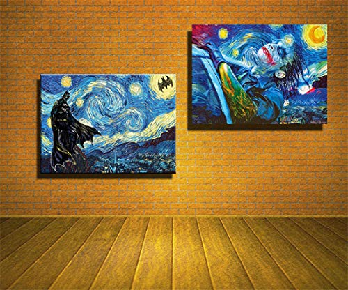 artwu HD Printed Oil Paintings Home Wall Decor Art On Canvas Batman,Joker,Starry Night 16x24inchx2 Unframed#374]()
