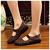 vermers Hot Sale Women Net Shoes - Flat Heel Breathable Hole Mesh Casual National Style Shoes(US:6.5, Coffee)