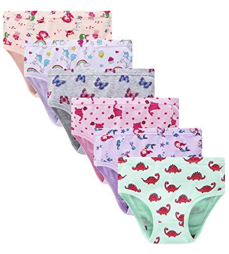 Cadidi Dinos Girls' Cotton Panties Little Girls Soft Underwear Kids Briefs (Pack of 6) Size 6 7