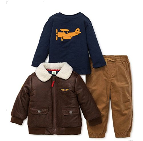 Piece Brown Corduroy 3 (Little Me 3-Piece Aviator Bomber Jacket, Navy Shirt, and Corduroy Pant Set In Brown (3T))