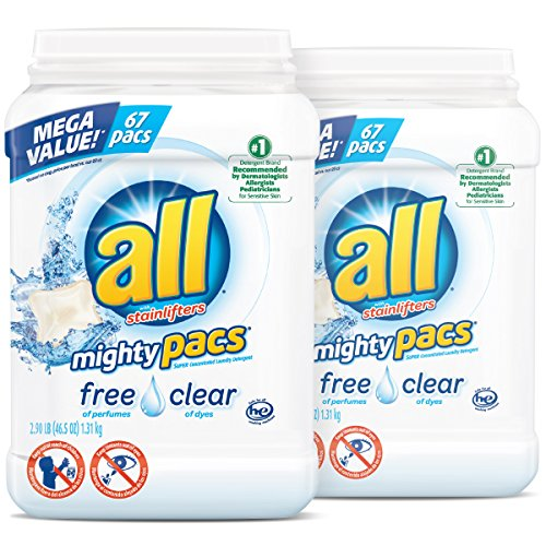 Hypoallergenic Detergent - all Mighty Pacs Laundry Detergent, Free Clear for Sensitive Skin, 67 Count, 2 Tubs, 134 Total Loads