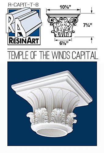 Fiberglass Columns (Temple of the Winds Capital for Hollow Column - M Size - Composite Resin - Unfinished - Paint Ready - Load Bearing - Dimensions In Images/Details)