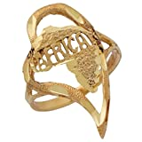 10k Yellow Gold Diamond Cut Africa Inside Heart Patriotic Ladies Ring