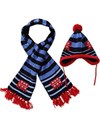 E.mirreh Strip Car Baby Toddler Warm Winter Beanie Earflap Hat and Scarf Set Boy