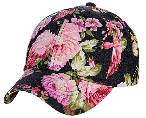 C.C Women's Floral Print Pattern Cotton Adjustable Baseball Cap Hat, (Floral Pattern Shade)