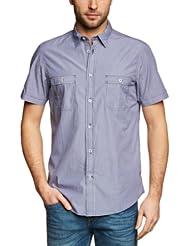 (帅气) 英伦大牌 Ben Sherman 宾舍曼经典男士条纹短袖衬衫Laundered Peach3色 $31.89