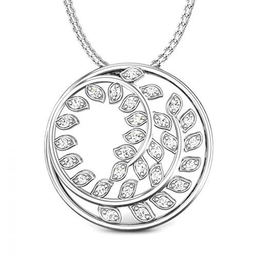 Candere 0.16 ctw Round Diamond 925 Sterling Silver Leaves Swirl Pendant (IGI Certified, I-J, ()