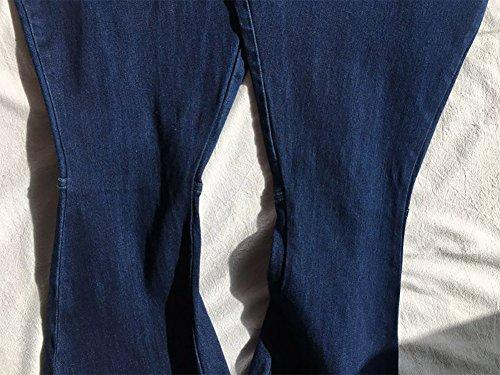 Donna A Blu Mena Alta Campana E Scuro Svasati Vita Da Con Risvolto Jeans EOwOqAUxT
