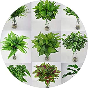 Get-in 1pc Artificial Flowers with Leaf Green Grass Plastic Plants Artificial Leaf Foliage Bush for Home Wedding Decoration Party Supplies 8