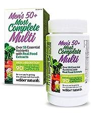 Webber Naturals Men's 50+ Most Complete Multi, Vegetarian Capsules, 90ct