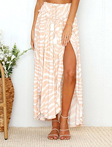 Beach Casual Impression de Jupe Bandage Party Femme avec Plage Fendues Rose Fashions Jupe t Maxi Plisse de Jupes Abricot XPqv85wxR