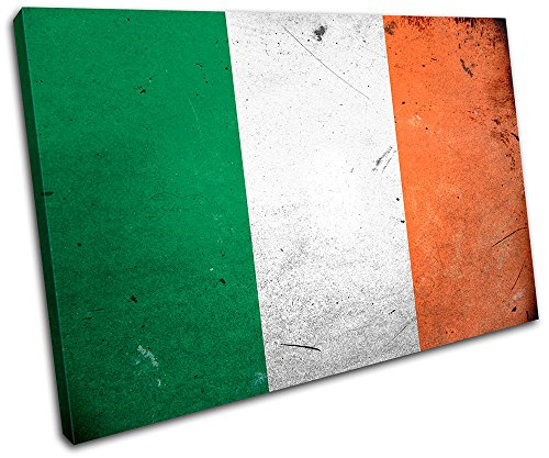 Bold Bloc Design - Abstract Irish Ireland Maps Flags 90x60cm SINGLE Canvas Art Print Box Framed Picture Wall Hanging - Hand Made In The UK - Framed And Ready To Hang by Bold Bloc Design