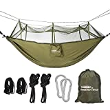 Forbidden Road Camping Hammock Single & Double Mosquito Net Hammock Capacity 330lbs Lightweight Portable 0.73lbs for Outdoor Hiking Backpacking Travel Backyard Ropes Carabiners Included - Green Blue