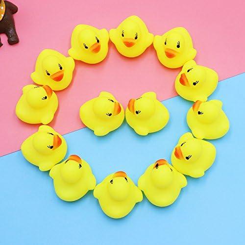 Kentop Jouets de bain,Mini charmants canardsJouets b/éb/és enfants Jouer Piscine deau Tub Animaux Jouet de son Jouets de plage jouets en caoutchouc 20PCS