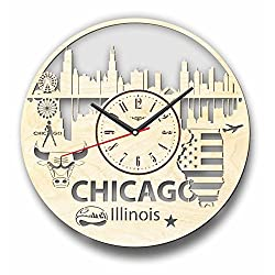 7Arts Chicago Wooden Clock – Decorative Wall Clock Made from Eco Wood with Silent Quartz Movement and Autonomous Power Source - Can be Painted, Great Gift Idea