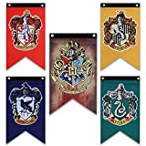 Harry Potter House Wall Banners - Complete Hogwarts House Wall Banner - Perfect Indoor Outdoor Party Flag - Gryffindor, Slytherin, Hufflepuff, Ravenclaw Banner Set