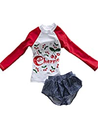Baby Girls Kids Toddler Long Sleeve Cherry Print Swimsuit Rash Guard UPF 50