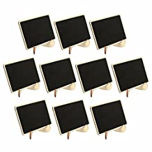 SanSiDo 10 Mini Retangle Chalkboard Wooden Blackboard 4 X 3 inches with Stand Wedding Party Table Numbers Place Card Favor Tag Plant Marker For Dessert Table Wedding Decor