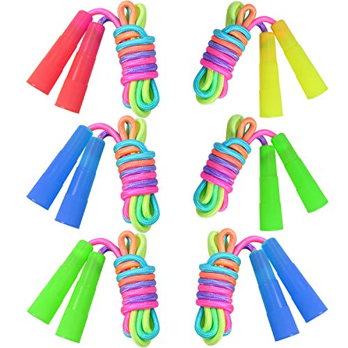 Elcoho 6 Pack Rainbow Jump Rope Set Kids Jumping Ropes for Girls or Boys Physical Education Skipping Rope (6)