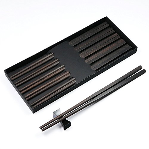Finish Black Lacquer - 5 Pairs Natural Black Ebony African Blackwood  Chopsticks in Fine Matte Finish Without Lacquer, Wax and Varnish - Square handles - In Classic Chinese or Japanese Style - Box Set Gift Wrap Available