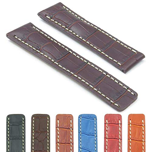 DASSARI Vantage Croc Embossed Leather Watch Band Strap Compatible with Breitling 20mm 22mm 24mm Croc Embossed Strap Watch