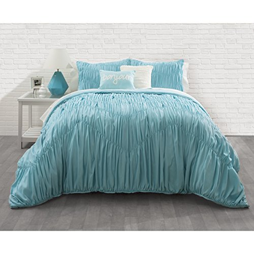 3 Piece Girls Aqua Blue Ruched Stripes Pattern Comforter Full Queen Set, Elegant Chevron Stripe-Inspired Design, Soft & Comfy Bedding, French Country Style, Solid Color, Polyester by OSVT