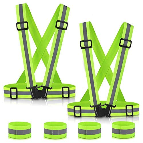 SAWNZC Reflective Vest Running Gear 2Pack, Adjustable Safety Vest Outdoor Reflective Belt High Visibility with 4 Reflective Wristbands Straps for Night Cycling Walking Jogging Motorcycle Dog Walking