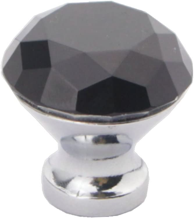 Shutters Kitchen and Bathroom Cabinets 30MM HOSL 10PCS Black Diamond Shape Crystal Glass Cabinet Knob Cupboard Drawer Pull Handle//Great for Cupboard etc