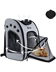 Expandable Cat Carrier Backpack for Dogs Cats Puppy, Airline Approved Travel Pet Carrier Backpack with Bubble Space Ventilated Breathable Mesh