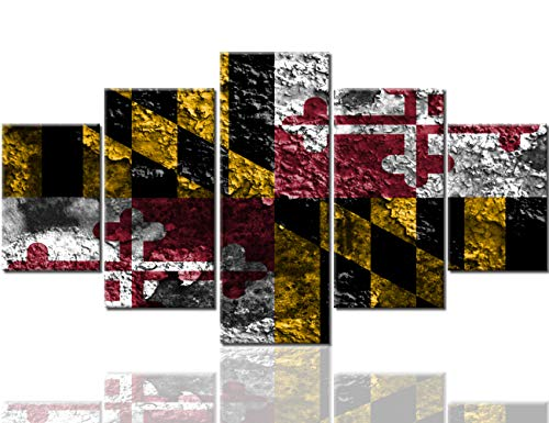 Wall Decorations for Living Room America States Maryland Flags Pictures Multi Panel Wall Art Premium Quality Artwork Black Canvas Paintings Wooden Framed Ready to Hang Posters and ()