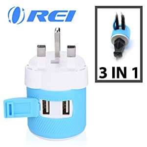 UK, Ireland, Dubai Travel Plug Adapter by OREI with Dual USB - USA Input + Surge Protection - Type G - (U2U-7), Will Work with Cell Phones, Camera, Laptop, Tablets, iPad, iPhone and More